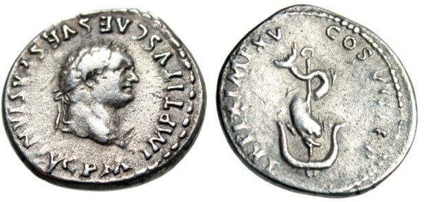 roman coin, 80AD front and back. Front face of Titus, back anchor and dophin