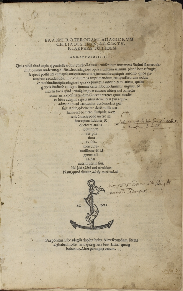 "Erasmus' title page for ""Adagia"" Aldine Press, 1508"